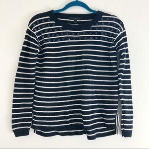 J.Crew Jeweled Striped Swing Sweater sz Small